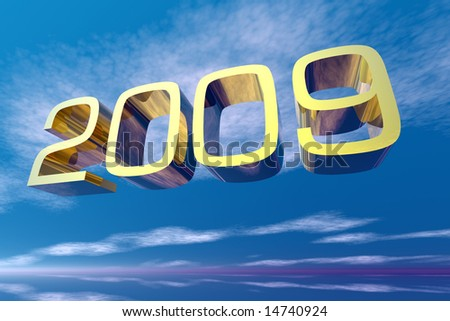 New year 2009 in the sky with clouds - stock photo