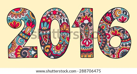 new year inscription 2016 hand written, colored raster version illustration - stock photo