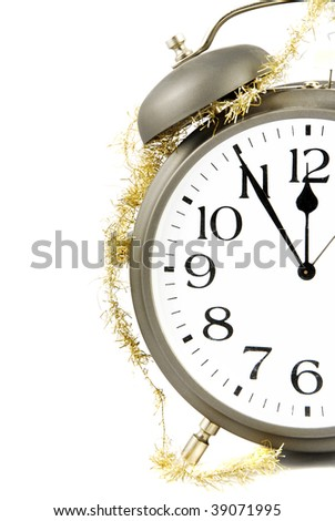 New Year is coming! Alarm clock with golden chain - stock photo