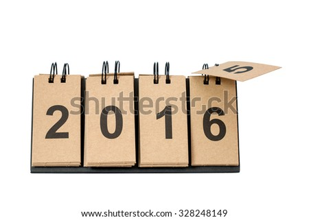 New Year 2016 is coming concept. Happy New Year 2016 replace 2015 concept isolated on white background. This picture have clipping path for easy to use. - stock photo