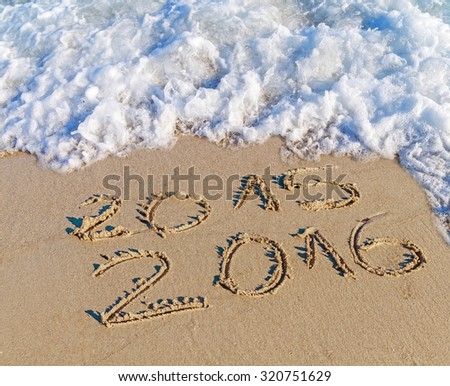 New Year 2016 is coming concept, Happy New Year 2016 replace 2015 concept on the sea beach - stock photo