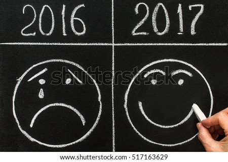 New Year 2017 is coming concept   2017 replace 2016. Smiley emoticons icon positive and negative