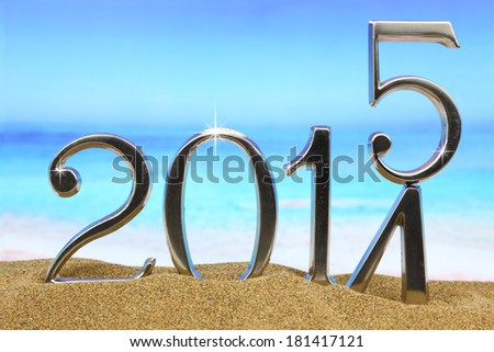 New year 2015 is coming on the beach - stock photo