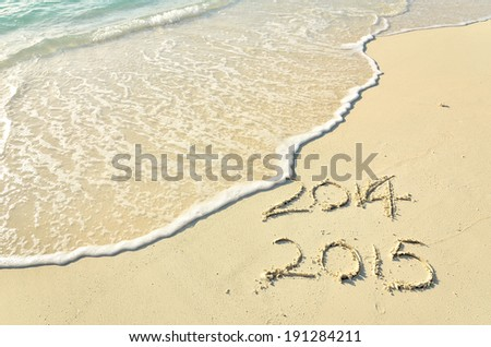 New Year 2015 is coming -- 2015 replace 2014  - stock photo