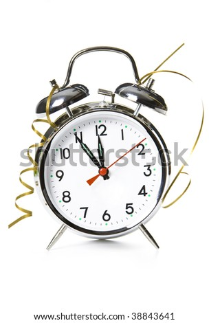 New Year is comming! Decorated clock - stock photo