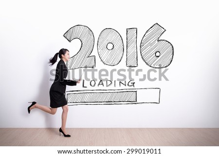 New Year is loading now - Successful business woman running and hold laptop computer with 2016 text and white wall background - stock photo
