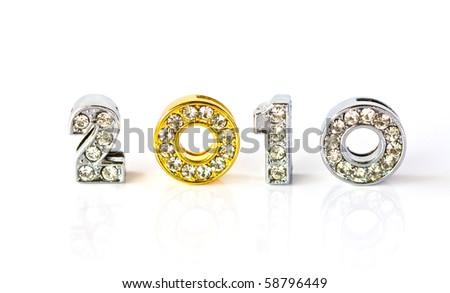 New year 2010 isolated on white background - stock photo