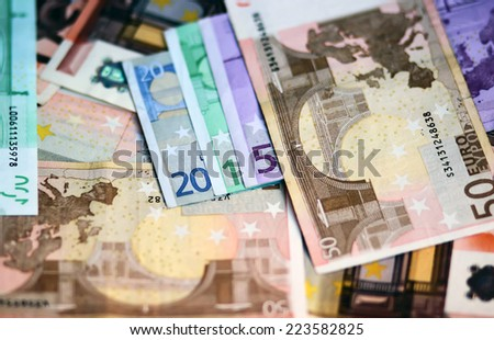 New Year 2015 lined with euro banknotes