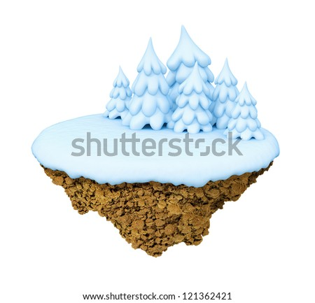 New Year little snowy levitate stylized island / planet. A piece of land in the air. - stock photo