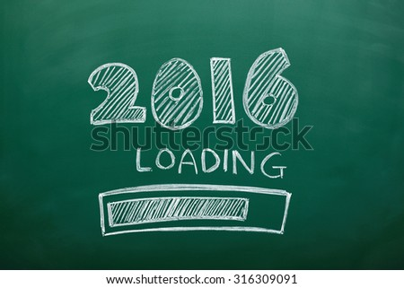 new year loading concept - 2016 new year text and loading on green chalkboard, blackboard - stock photo
