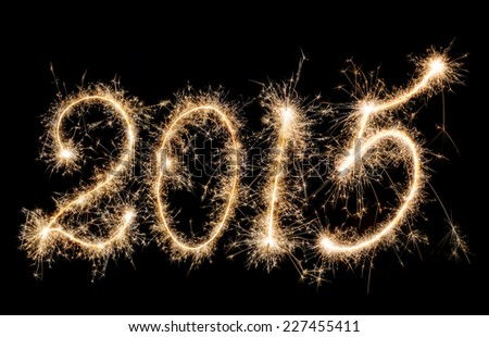 New Year - 2015 made a sparkler - stock photo