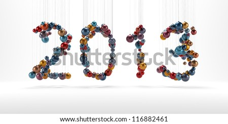 New year 2013 made of christmass balls isolated - stock photo