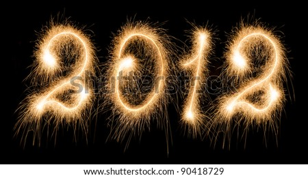 New Year 2012 made of real sparkles - stock photo