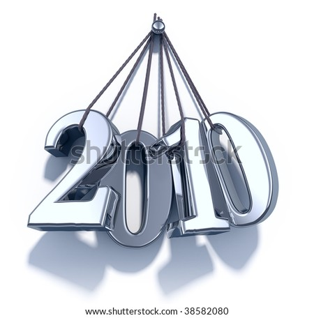 New Year 2010 metal numbers hang on ropes - 3d render - stock photo