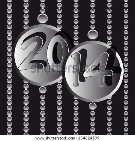 new year 2014 metallic circle - stock photo
