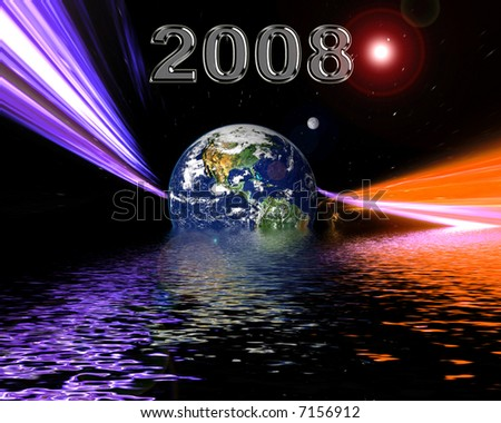 New Year 2008 modern space background. - stock photo