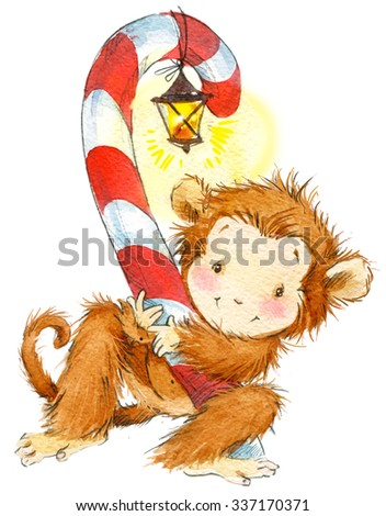 New Year Monkey illustration. New year and Christmas background with monkey and winter feast decoration elements. watercolor illustration
