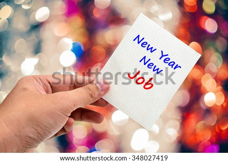New Year  New Job handwriting on a sticky note - stock photo