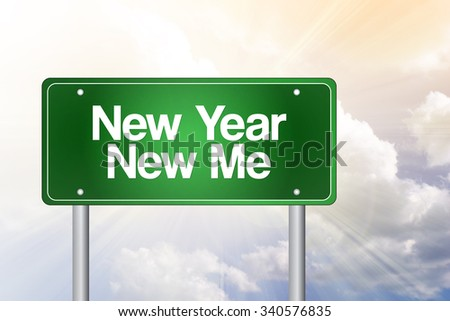New Year New Me green road sign concept - stock photo