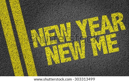 New Year New Me written on the road - stock photo