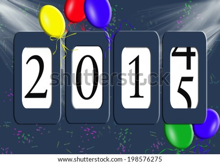 new year 2015 odometer with balloons, light rays and confetti - stock photo