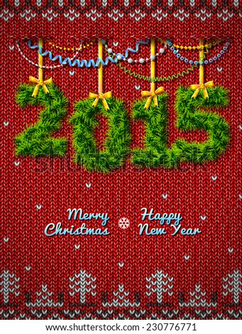 New Year 2015 of twigs like christmas decoration. Christmas congratulation against knitted background. Illustration for new year's day, christmas, winter holiday, new year's eve, silvester, etc - stock photo