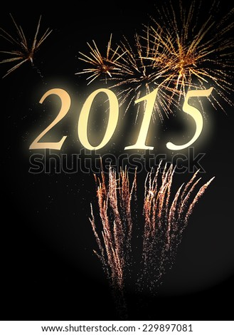 new year 2015 on a fireworks with gold glitter  - stock photo