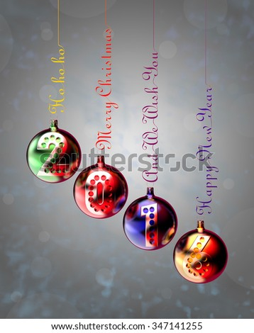 New Year 2016 on baubles hung on inscriptions: Merry Christmas, Happy New Year and Ho ho ho. Render image - stock photo