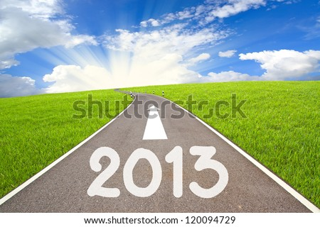 New Year 2013 on  The road  and cloudy sky - stock photo