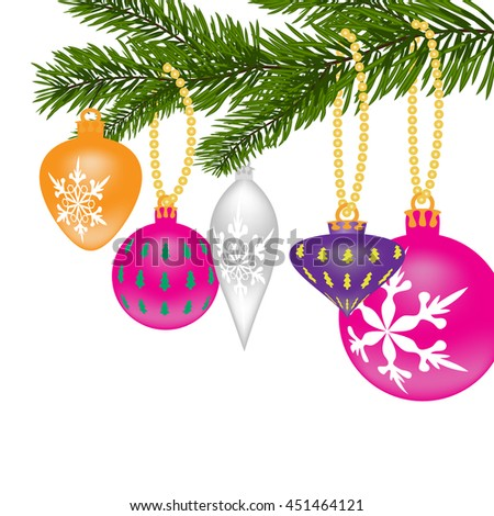 New Year or Christmas background. Fir tree branch with toys of different shapes with the pattern. Raster illustration