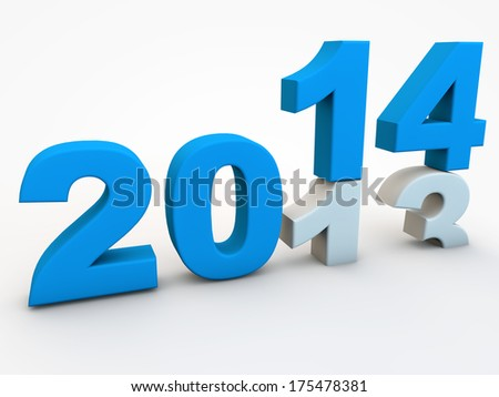 New year 2014 over white background