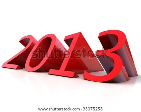 New Year 2013 over white Background