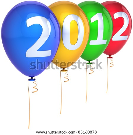 New 2012 Year party balloons celebration decoration multicolored with silver date. Merry Christmas happy joy fun abstract. Calendar design element. Detailed 3d render. Isolated on white background