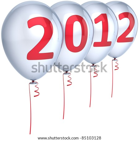New 2012 Year party balloons decoration colored silver with red date. Happy Merry Christmas joy fun abstract. Design element for calendar concept. Detailed 3d render. Isolated on white background