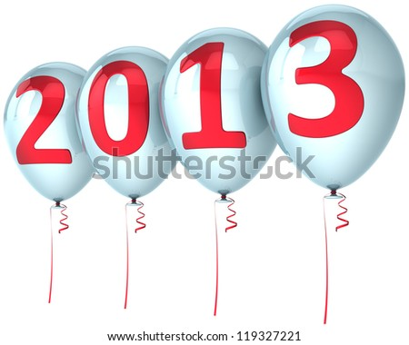 New Year 2013 party balloons holiday decoration. White helium balloon with red number. Future calendar date. Detailed 3d render. Isolated on white background