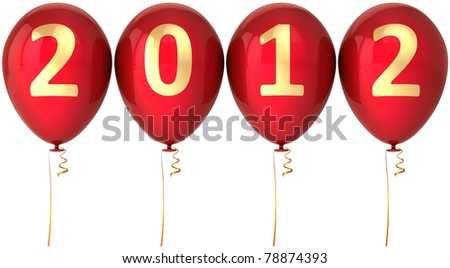 New 2012 Year party balloons modern decoration. Happy Merry Christmas greeting card design element. This is a detailed CG image 3d render. Isolated on white background - stock photo