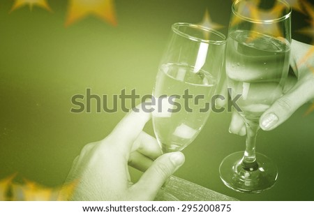New year party with champagne glasses - stock photo