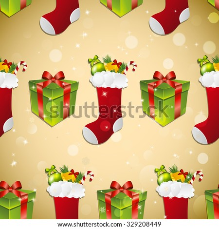 New year pattern with sock for gifts and gift.  Sparkles and bokeh. Shiny and glowing - stock photo