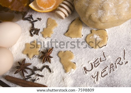 new year preparation. ingredients of new year? :) - stock photo