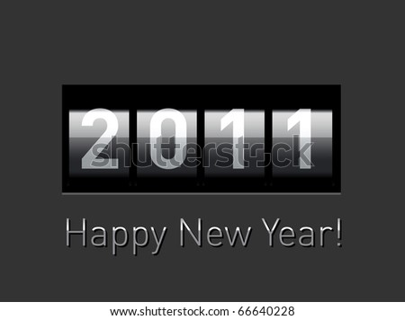 New Year realistic metallic counter - stock photo