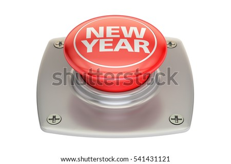 New Year Red Button, 3D rendering isolated on white background