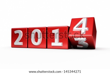 New Year 2014 red cube render isolated on white and clipping path - stock photo