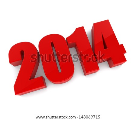 New 2014 year red figures isolated on white background. - stock photo
