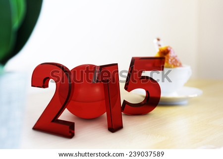 New Year 2015 Red render - stock photo