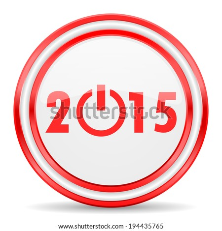 new year 2015 red white glossy web icon