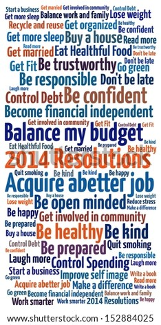 New Year Resolution in word collage