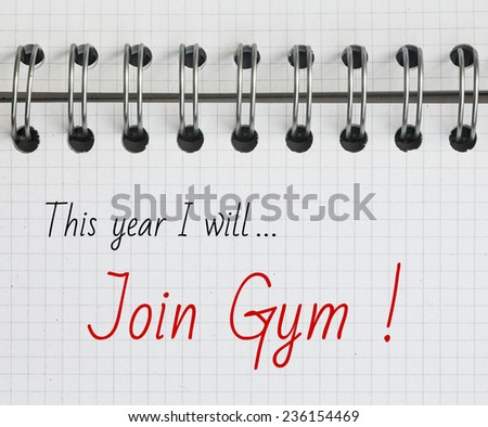New Year Resolution, Join Gym. - stock photo