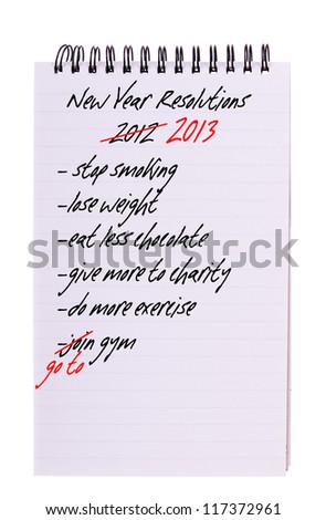 New Year Resolutions - again, 2014 list isolated.  FOR 2015 see photo id: 217812193 - stock photo