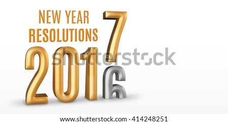 New Year Resolutions 2016 gold number year change to 2017 new year in white studio room, New year concept,3D rendering, Leave space for display your content - stock photo