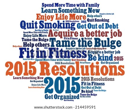 New Year  Resolutions in word collage - stock photo